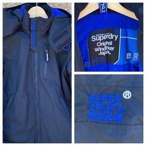 Superdry womens Hooded Windhiker jacket black/blue